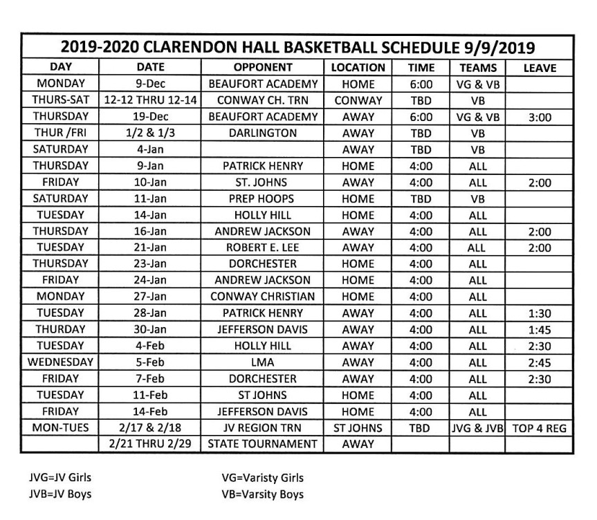 2019-2020 CH Basketball Schedule
