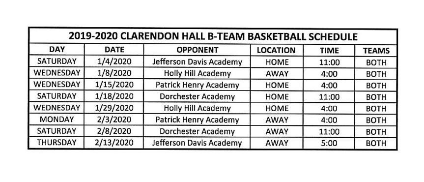 Clarendon Hall B-Team Basketball Schedule